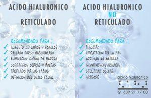 Acido Hialuronico Reticulado y Acido Hialuronico NO Reticulado